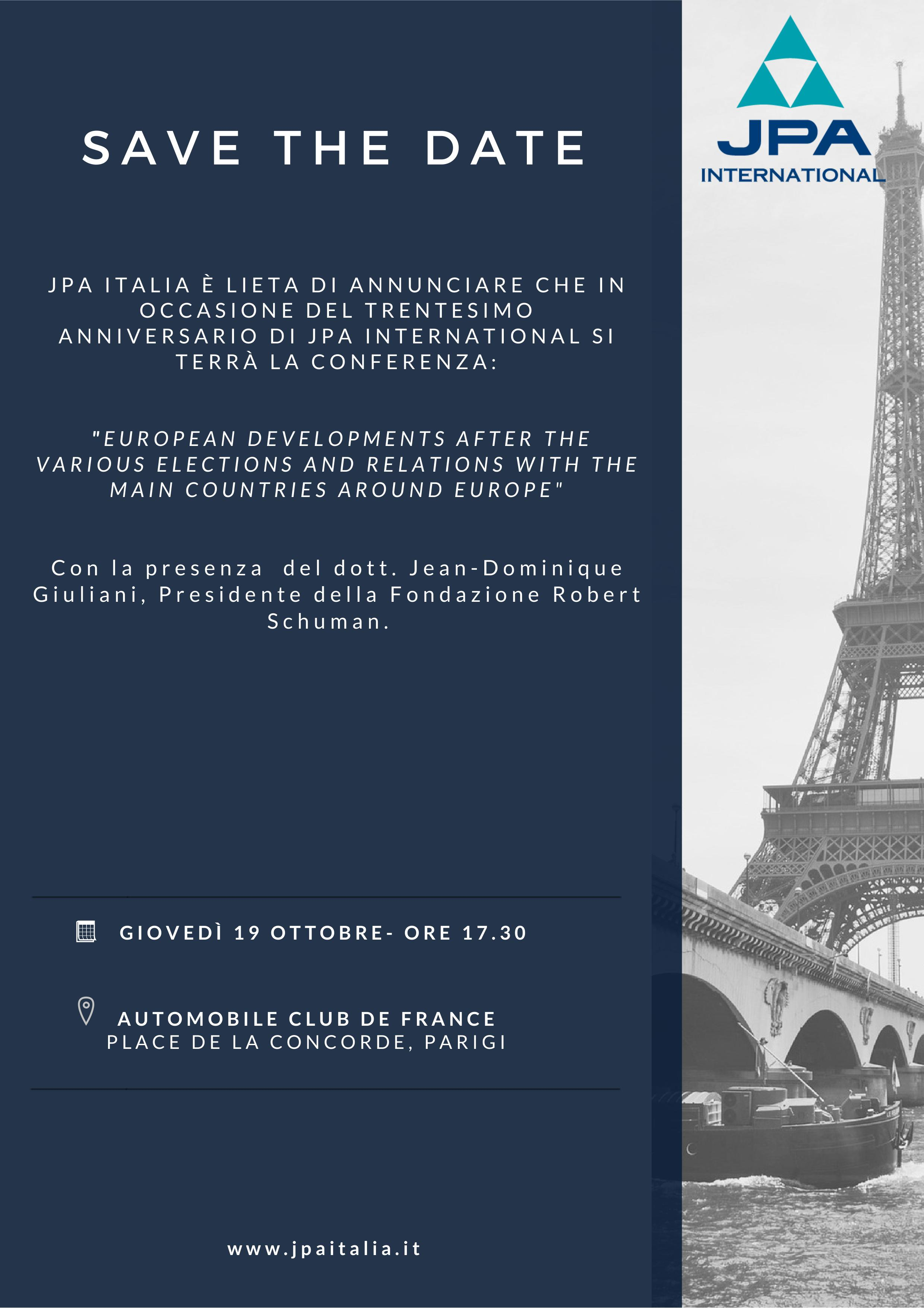 JPA Italia - SAVE THE DATE  - 19 ottore 2017